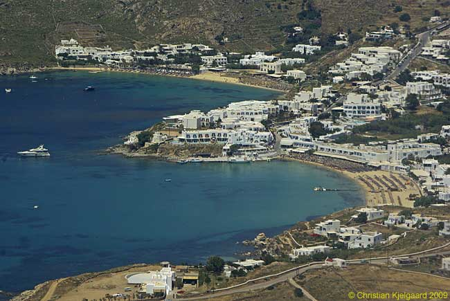 Beaches on the island of Mykonos flash below our Aegean Airlines A320 as we descend towards our landing at the party island's airport.