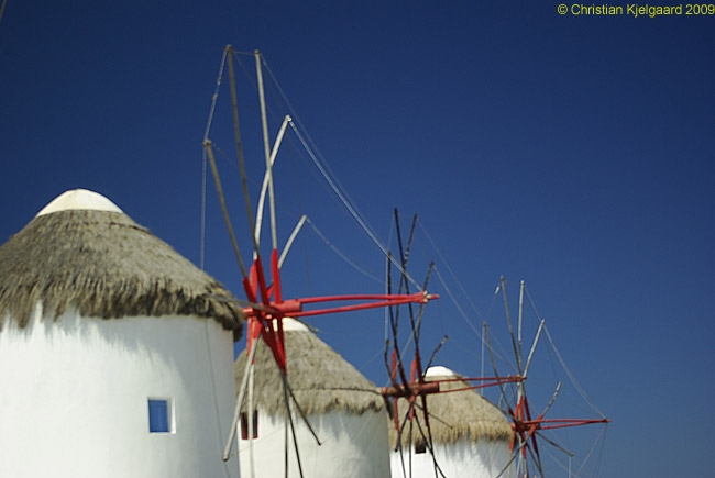The famous windmills of Mykonos are, alas now just a tourist attraction.