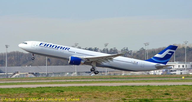 Finnair has begun replacing its three-engine Boeing MD-11s on long-haul flights with two engine Airbus A330-300s, which burn at least 20  per cent less fuel while carrying a similar number of passengers the same distance