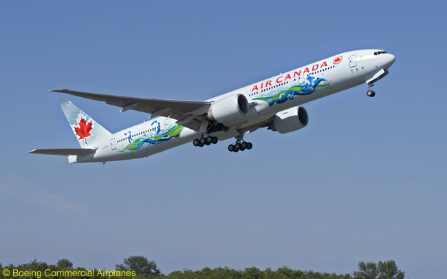 Air Canada took delivery of this new Boeing 777-300ER painted in a special theme in recognition of the airline's role as the official\ carrier of the Vancouver 2010 Winter Olympics