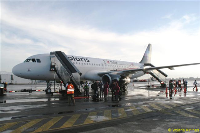 Mexican carrier Volaris Airlines' first two flights landed at Oakland on July 16, 2009
