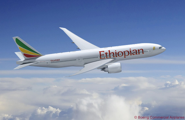 Ethiopian Airlines has undertaken the biggest aircraft order in its history, signing deals for 12 Airbus A350-900s and five Boeing 777-200LRs. THis is an artists's impression of the how the 7777-200LR will look in Ethiopian's livery