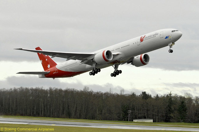 V Australia operates a fleet of new Boeing 777-300ERs