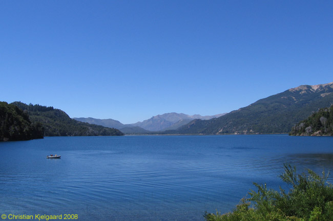 This is a view across Lago Moreno Este, the eastern branch of Lago Moreno, from the modern bridge that crosses the narrow channel between Lago Moreno Este and Lago Moreno Oeste