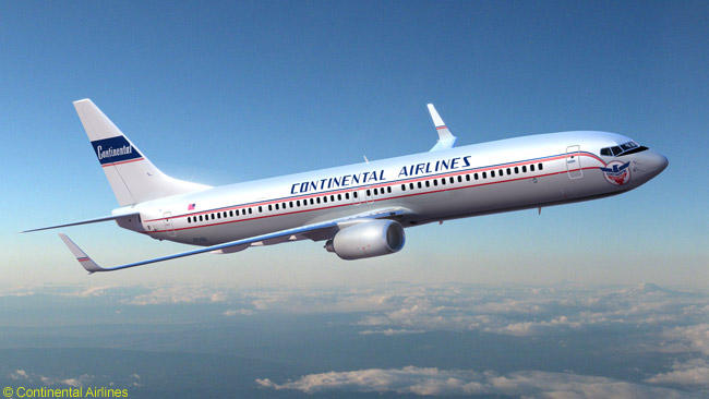 This is an artist's impression of the Boeing 737-900ER that Continental Airlines has painted in a retro 'The Blue Skyway' livery from 1947. Continental painted the aircraft to celebrate the airline's 75th anniversary