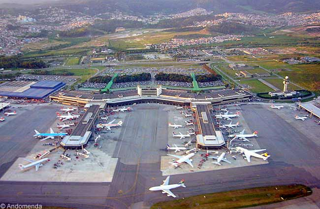 An aerial view of Sao Paulo Guarulhos International Airport