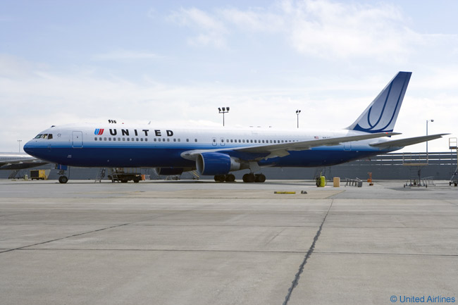 A United Airlines Boeing 767-300ER