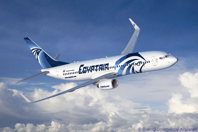 Boeing has produced this computer graphic image of a Boeing 737-800 painted in EgyptAir's latest color scheme