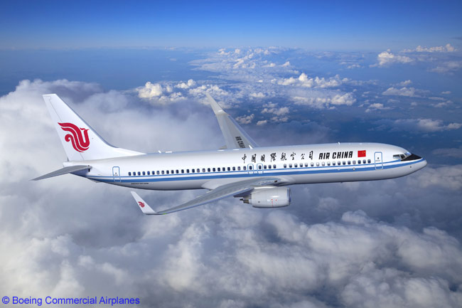 A Boeing's artist's impression of a Boeing 737-800 in Air China colors. The airline has become the first Chinese carrier to offer frequent flyer program-related debit cards