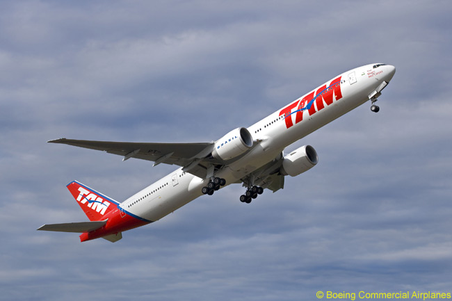The long-haul fleet of Brazilian airline TAM includes several Boeing 777-300ERs. TAM has ordered eight of the type