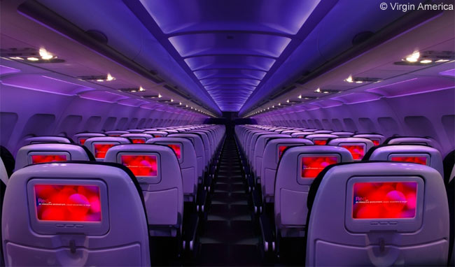 Virgin America's cabin features amenities such as WiFi, power outlets, mood-lighting and Red, which the airline says is the most advanced in-flight entertainment system of any U.S. airline