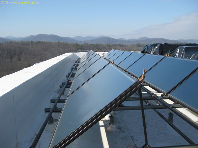 The new Hilton Asheville in North Carolina is one of the first U.S. hotels to have a solar-powered water heating system. The system is on the hotel's roof