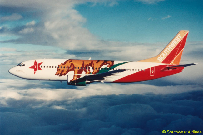 Southwest Airlines has quite a number fo specially themed and painted aircraft in its fleet. This one is 'California One', painted to honor the state of Californbia