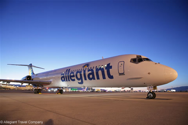 This is a McDonnell Douglas MD-83 of Allegiant Airlines, which is a subsidiary of Las Vegas-based Allegiant Travel Company. Allegiant operates an all-MD-80 fleet and is now one of the largest operators of the type in the world
