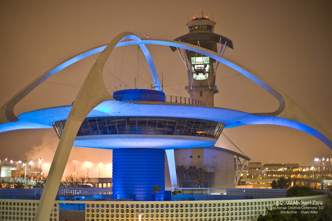 The iconic Theme Tower at Los Angeles International Airport