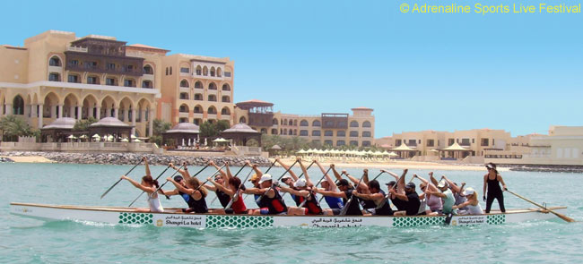 The Shangri-La UAE Dragons in mixed boat training
