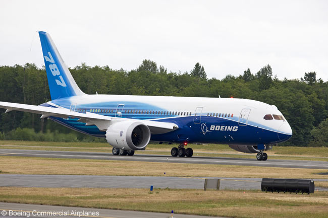 The first Boeing 787 prototype, conducting taxi trials at Paine Field, Everett, Washington