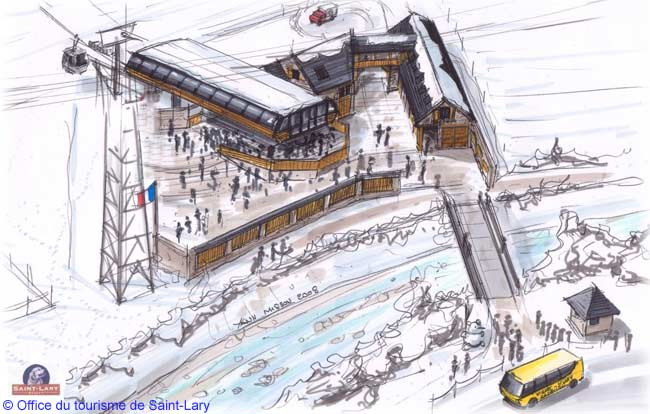 An artist's impression of the terminus for the new cablecar system at the mountain resort of Saint-Lary Soulan in the French Pyrenees