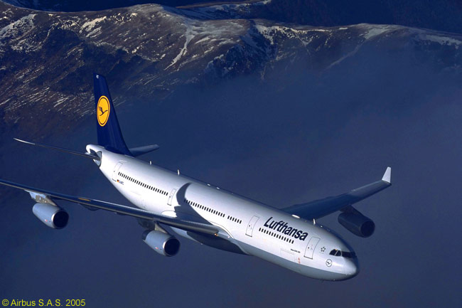 An Airbus A340-300 operated by Lufthansa on transatlantic and other long-haul routes