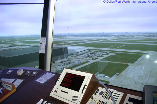 This is a view from the control tower at Dallas/Fort Worth International Airport, one of the busiest airports in the United States and in the world