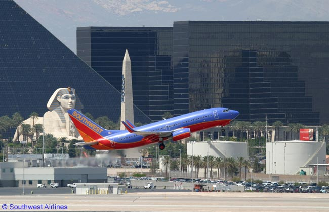 A Southwest Airlines Boeing 737-700 takes off at Las Vegas McCarran International Airport, one of the airline's major destinations