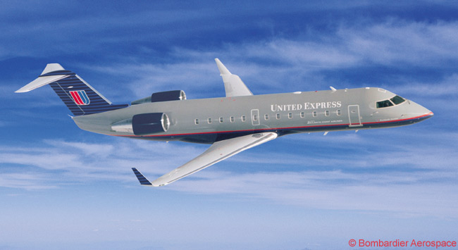 Various United Express franchise carriers operate Bombardier CRJ100 and CRJ200 regional jets, like this one seen here. United has a sizable number of United Express regional partners, including Air Wisconsin, Chautauqua Airlines, Colgan Air, ExpressJet Airlines, GoJet, Mesa Airlines, Republic Airlines, Shuttle America, SkyWest Airlines and Trans States Airlines