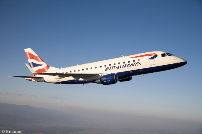 British Airways subsidiary BA CityFlyer has ordered six Embraer 170s and five Embraer 190s, with options on three more E-Jets. This photograph is of BA CityFlyer's first Embraer 170 just prior to delivery on September 3, 2009