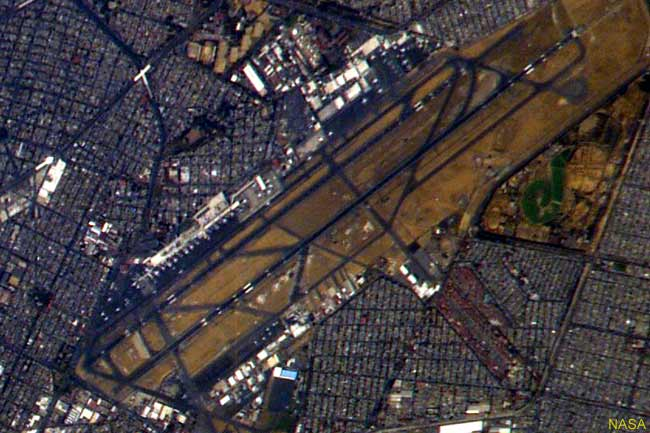 This is an aerial view, taken by satellite, of Mexico City International Airport, otherwise known as Benito Juárez Internacional
