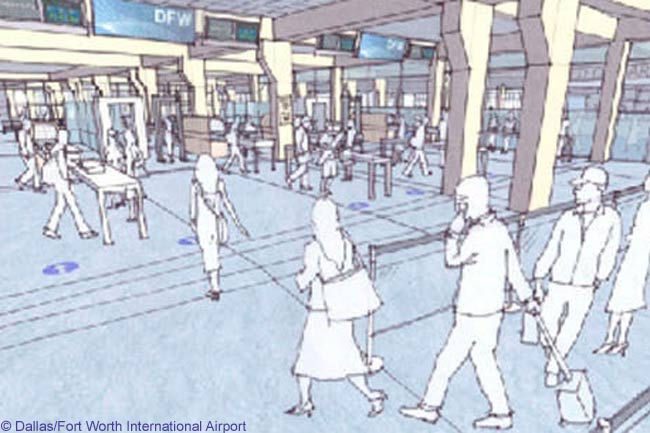 DFW has prepared preliminary renovation sketches of how the exterior and interior areas of its original four terminals will look following the massive facelift they will receive under a $1.5 billion-plus, eight-year upgrade program that DFW's board of directors launched in September 2009. This is a preliminary sketch of a security checkpoint area in a terminal following its facelift