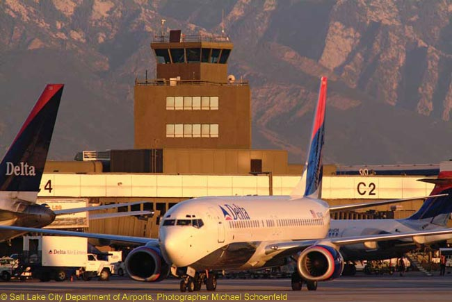 The control tower at Salt Lake City International Airport, which is a sizable hub for Delta Air Lines
