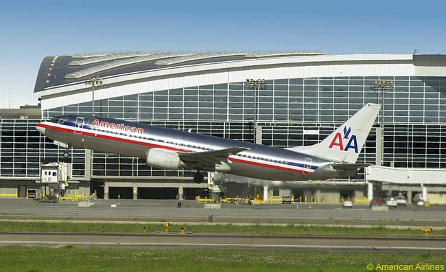 An American Airlines Boeing 737-800 takes off at Dallas/Fort Worth International Airport, the biggest hub for American and its sister regional airline American Eagle