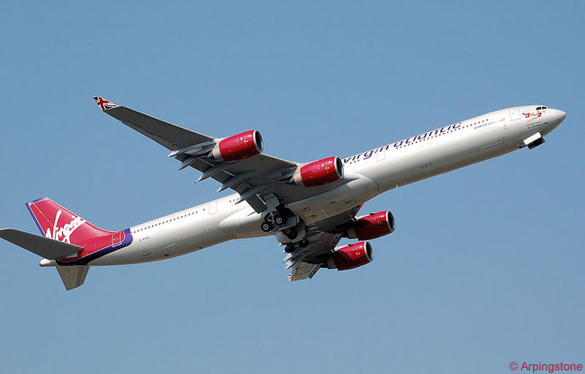 Virgin Atlantic Airways Airbus A340-600 G-VYOU takes off from London Heathrow Airport