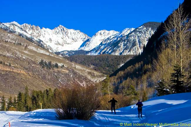 Cross-country skiing near Vail, in northwest Colorado