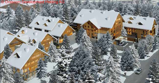 This is an artist's impression of how the five-star hotel The Chedi at the Andermatt Swiss Alps resort, now under construction by Orascom Development, will look on a snowy winter's day