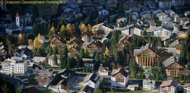This is a computer graphic image of how the Andermatt Swiss Alps resort is intended to look when it is completed