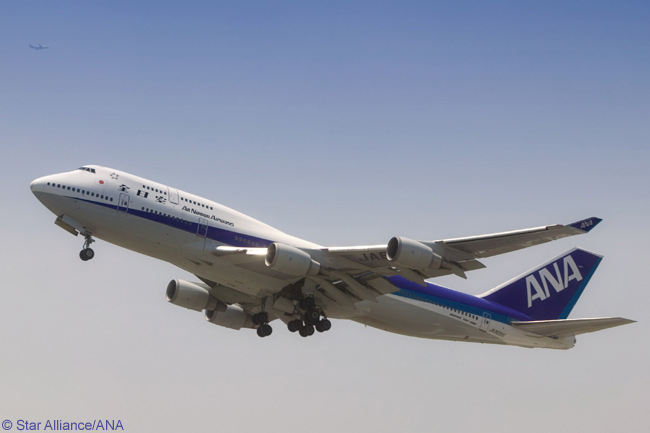 A Boeing 747-400 of Japanese airline All Nippon Airways (ANA), an early member of the Star Alliance