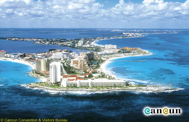 A scenic view of Cancun, Mexico's best-known seaside resort. Source: The Cancun Convention & Visitors Bureau
