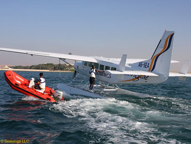 Dubai's Seawings LLC, which says it is the only seaplane tour operator in the Middle East, offers up to 16 sightseeing flights daily along Dubai's waterfront using a fleet of three float-equipped Cessna 208 Caravans