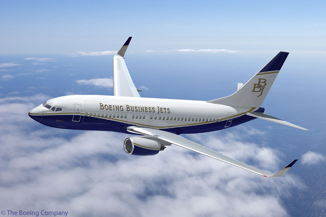 This is an artist's impression of the Boeing BBJ Convertible ― which has a Boeing 737-700-size airframe ― in the house colors of Boeing Business Jets. Boeing delivered its first 'BBJ C' some eight months before announcing the model's existence in May 2008