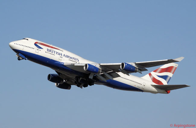 British Airways Boeing 747-400 G-BNLE takes off from London Heathrow Airport