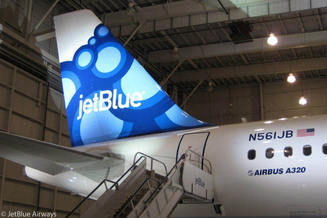JetBlue Airways introduced a new aircraft tailfin design, named Blueberries, in Orlando, Florida on Tuesday, October 13, 2009. The Blueberries tailfin livery was JetBlue's ninth unique tail design