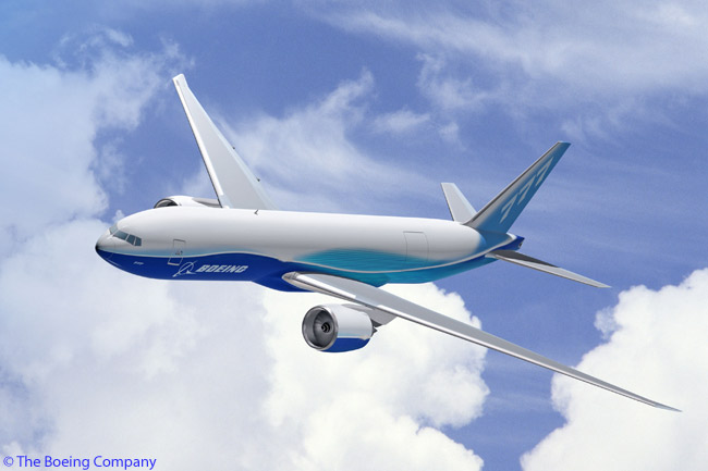 Southern Air Inc. is taking delivery of two new Boeing 777-200LRFs (also known more simply as Boeing 777Fs) early in 2010 and will operate them on a wet-lease, block-space basis on behalf of Thai Airways International. An artist's impression of the Boeing 777F in Boeing house colors is shown in this computer graphic image