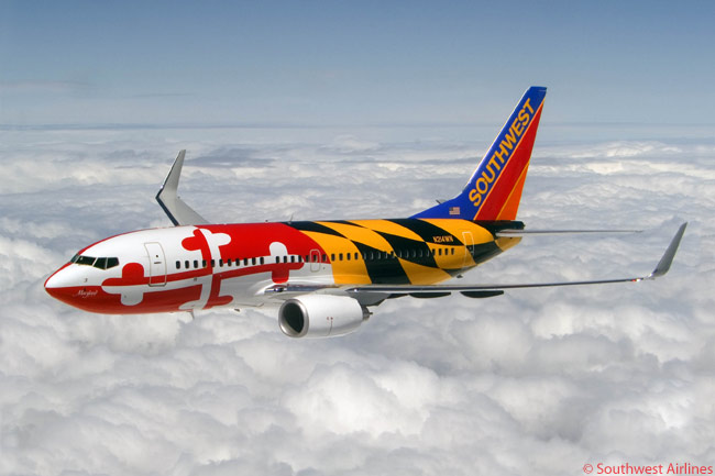 Southwest Airlines has painted quite a few aircraft in its all-Boeing 737 fleet in special themed liveries. This 737-700 is painted in the state colors of Maryland and Southwest calls it 'Maryland One' to commemorate its strong presence at Baltimore-Washington International Airport, the busiest commercial airport in the state