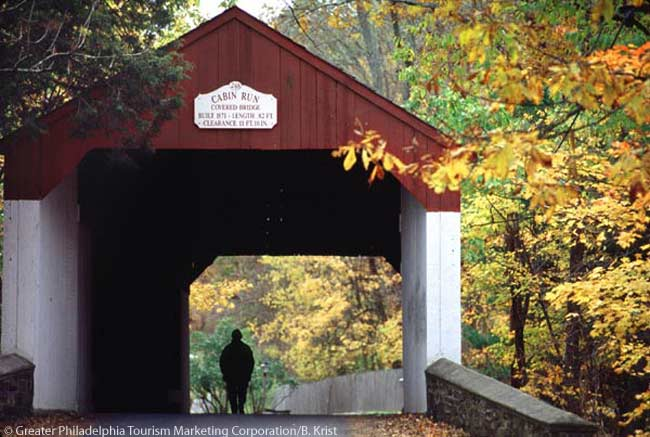 This is the historic Cabin Run Covered Bridge, in the Greater Philadelphia area. Photo by B. Krist for Greater Philadelphia Tourism Marketing Corporation