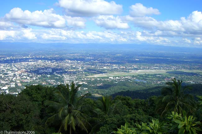 This is a view from Doi Suthep mountain over the city of Chiang Mai in northern Thailand