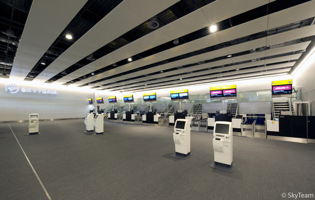 SkyTeam has become the first airline alliance to unveil a permanent, common facility in one terminal at London Heathrow, in the airport's Terminal 4. The SkyTeam LHR premium check-in area opens on November 5, 2009, offering first- and business-class passengers as well as SkyTeam Elite and Elite Plus passengers 14 check-in desks and 10 common-use, self-service kiosks