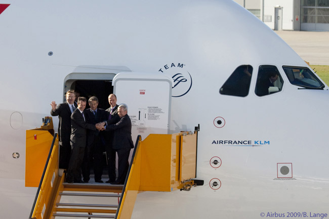 Air France-KLM top executives Pierre-Henri Gourgeon, and Jean-Cyril Spinetta take delivery of Air France's first Airbus A380 (of 12 ordered) from Airbus CEO Tom Enders, accompanied by Engine Alliance president James Moravecek, on October 30, 2009. Air France puts the aircraft into commercial service on November 20, on the Paris-New York route