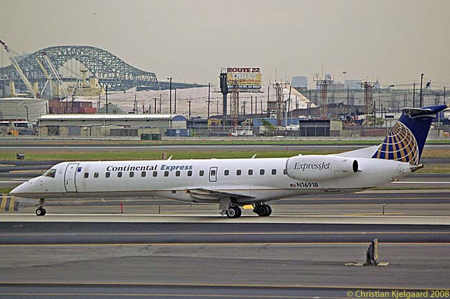 A Continental Express Embraer ERJ-145LR, operated by ExpressJet Airlines, taxis at Newark Liberty International Airport