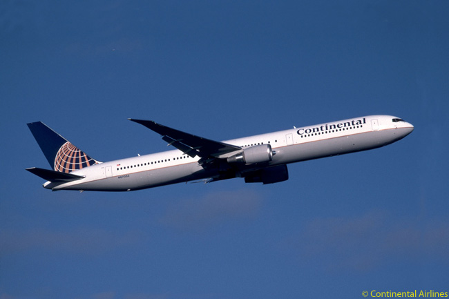 Continental Airlines' huge, all-Boeing fleet includes 16 long-haul 767-400ERs (one is pictured here), as well as 20 777-200ERs, 10 767-200ERs and 41 757-200ERs. Each of Continental's 767-400ERs in configured to seat 35 in Business First and 200 in economy-class