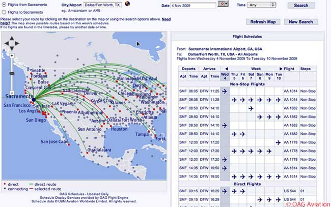 In This Photograph Oag S Route Mapper Shows Flight Schedule Information For The Sacramento Dallas
